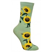 Sunflowers Mint Green Ultra Lightweight Cotton Crew Socks - Made in USA