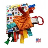 Sensory Baby Tag Blanket, Traffic, Signs, Automobiles Blanket 14x18 Lovey by Baby Jack & Co