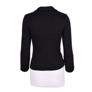 Auliné Collection Women's Casual Work Solid Color Knit Blazer Black 1X