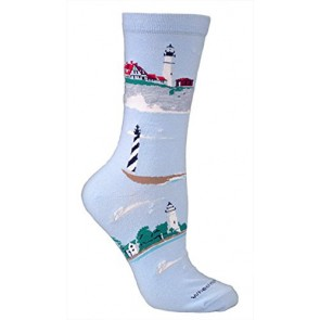 Lighthouse Seascape Light Blue Ultra Lightweight Cotton Crew Socks - Made in USA