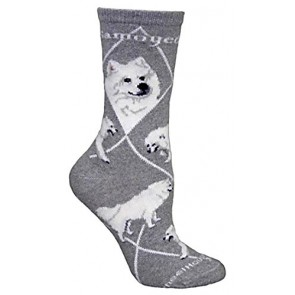 Samoyed Gray Ultra Lightweight Cotton Crew Socks (One Size Fits Most) Made in USA