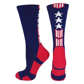 Patriot Stars and Stripes Team USA American Flag Crew Socks (Navy/Red/White, Small)
