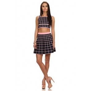 MeshMe Womens Twila Black & Pink Checkered Crop Top Skirt Set Small 2 Piece
