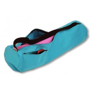 Deluxe Yoga Mat Bag Extra Large Easy Open Zipper Cotton Made USA By Bean Products Aqua