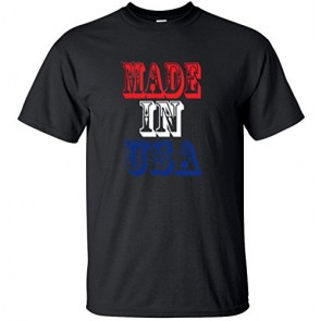 Men's American Flag Made In The USA T Shirt Small Black
