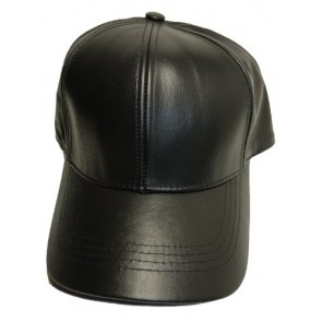 BLACK LEATHER BASEBALL CAP HAT CAPS HATS ADJUSTABLE MADE IN USA