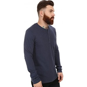 Velvet by Graham & Spencer Men's Ugo Long Sleeve Henley Woven Pocket Slub Jersey Shade T-Shirt SM