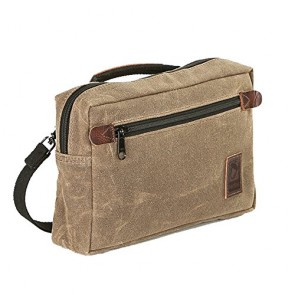 NutSac Man-Bag, Dammit - Small Mens Bag in Waxed Canvas and Leather (Tan)
