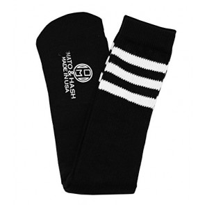 Knee High Socks  Three Stripe Socks  Socks for Costumes  and Cosplay Made in USA, Black / White, One size
