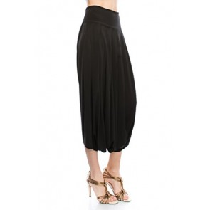 JC Womens Pleated Harem Baggy Dress Pants - Made in USA-Small,Black