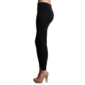 Nikibiki Ankle Length Seamless Smooth Womens Leggings Made in The USA (Black)