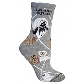 Lhasa Apso on Gray Ultra Lightweight Cotton Crew Socks - Made in USA