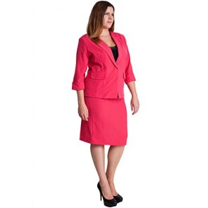 Ladies Fuchsia Plus Size Button Cuff 3/4 Sleeve Blazer and Pencil Belt Skirt Set