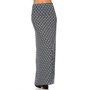 2LUV Women's Mix Print Knit Floor Length Maxi Skirt Black-Diamond S