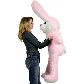 American Made Giant Stuffed Pink Bunny 50 Inches Soft Big Plush Rabbit Made in the USA America