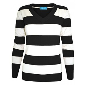 Cielo Women's Knit Cardigan Sweater, V-neck, Striped (Small, Black sw235)