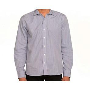 J Wingfield Men's Malcolm Poplin Check Navy/Blue Spread- Dress Shirt