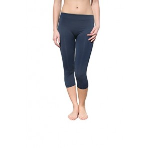 Nikibiki Womens Sexy Smooth Form-Fitting Capri Leggings (Denim)