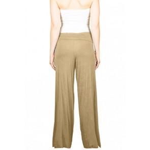 TL Women's Versatile Comfy Wide Leg Long Boho Maternity Palazzo Gaucho Pants (SMALL, BEIGE)