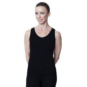 American Fitness Couture Womens' Barré Beautiful Shelf Bra Cut Out Back Top for Yoga, Pilates, Black X-Sml