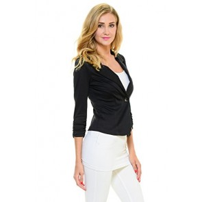 YourStyle Casual Work Solid Candy Color Blazer-MADE IN USA (Black,Small)