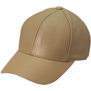 Genuine Leather Baseball Cap Hat Made In The USA (Khaki)