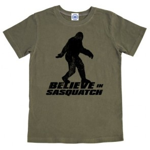 Hank Player 'Believe In Sasquatch' Boy's T-Shirt (10, Vintage Army)