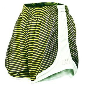 Fit 2 Win Women's Sprinter Neon Green, Purple, and White Running Shorts, XS