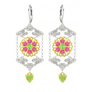 European Style Lucia Costin Chandelier Earrings Made of .925 Sterling Silver with 24K Yellow Gold over .925 Sterling Silver with Light Green, Pink Swarovski Crystals and Fancy Details; Handmade in USA