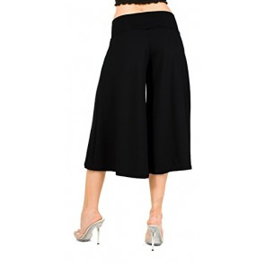 Flowy Soft Gaucho Pants Made in the USA 25 colors available - CAPRIS Black (XSmall)