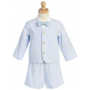 # 9-G8191BL -4T-Eton Seersucker Suit- Blue Stripes w/Jacket, Shorts, Shirt, Bowtie- - Made in USA
