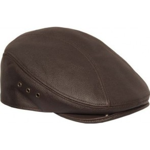 Men's Genuine Made In The USA Leather Ivy Flat Cap Hat (L/XL, Brown)