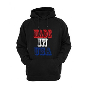 Men's American Flag Made In The USA Hoodie Hooded Sweater Large Black