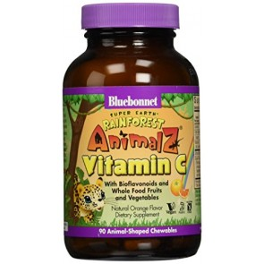 Bluebonnet Super Earth Rainforest Animalz Vitamin C Chews, Orange, 90 Count