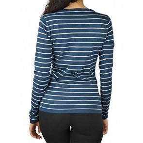 Alfa Global Women's Long Sleeve V-Neck Striped Ultra Soft Knit Sweater Teal S