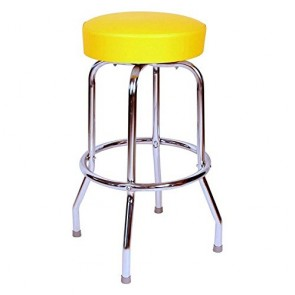 "Budget Bar Stools 0-1950YEL Swivel Bar Stool with Chrome Frame, 16"" L x 16"" W x 30"" H, Yellow"
