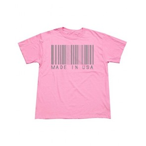P&B Made in USA Barcode Men's T-Shirt, S, Azalea Pink