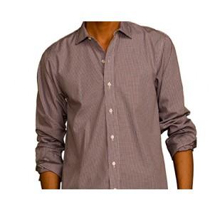 J Wingfield Men's Malcolm Poplin Check Navy/Brown Spread- Woven Dress Shirt