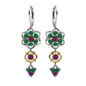 Dangle Earrings by Lucia Costin Made of .925 Sterling Silver with 24K Yellow Gold over .925 Sterling Silver with Violet, Green Swarovski Crystals, Twisted Lines, 4 Petal Flowers and 3 Stones Falling; Handmade in USA