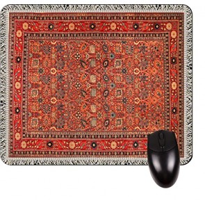 Antique Style Oriental Rug Print Design TM -Square Mouse pad - Stylish, Durable Office Accessory and Gift Made in the USA