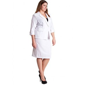 Ladies White Plus Size Button Cuff 3/4 Sleeve Blazer and Pencil Belt Skirt Set