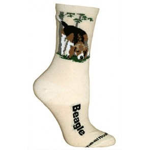 Beagle Cream Ultra Lightweight Cotton Dog Breed Crew Socks (One Size Fits Most) Made in USA