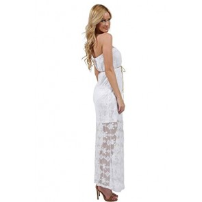 Ingear Cotton Lace Tube Maxi Dress With Belt Coral-Small