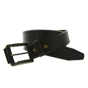 "Made in USA Mens Genuine American Bison Black Oil-Tanned Thick Leather Casual Jean Bevelled Edge Belt(Black, 32"")"