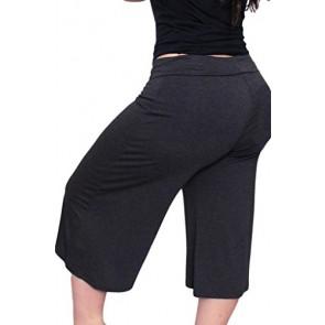 Plus Size Women's Gaucho Pants Capris Flowy Soft 1XL, 2XL , 3XL: CHARCOAL 1X