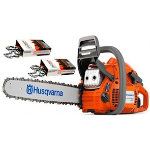 Husqvarna 445 Cutting Kit. Includes a 445 18-Inch 45.7cc 2-Stroke Gas Powered Chain Saw and 2 WoodlandPRO replacement Chains