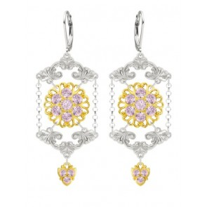 European Inspired Lucia Costin Chandelier Earrings Made of .925 Sterling Silver with 24K Yellow Gold over .925 Sterling Silver with Lilac Swarovski Crystals, Fancy Charms and Falling Chains; Handmade in USA
