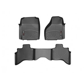 2012-2105 Dodge Ram 1500-Weathertech Floor Liners-Full Set (Includes 1st and 2nd Row)-Quad Cab; Does Not Fit Models with Floor Mounted 4x4 Shifter; Driver and Passenger Side Floor Hooks-Black