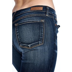Angry Rabbit Women's 3D Whiskers Skinny Premium Designer's Denim Jeans Made in USA (25,Dark Denim)