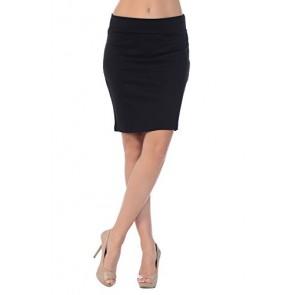 Jubilee Couture Women's Ponte Roma Mini Pencil Skirt (Small, Black)